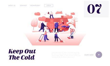 Wintertime Activity and Outdoors Work Website Landing Page. Company of Friends or Neighbours Working Together at Homeyard with Shovels and Snowblower Web Page Banner. Cartoon Flat Vector Illustration Ilustração