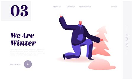 Winter Season Games and Activities Website Landing Page. Happy Man in Warm Earflaps Hat Stand on Knee Aiming with Snow Ball to Somebody. Holidays Relax Web Page Banner Cartoon Flat Vector Illustration Ilustração