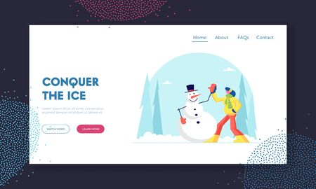 Winter Holidays Spare Time Recreation Website Landing Page. Young Woman Having Outdoors Fun Make Snowman at Park. Wintertime Active Games Amusement Web Page Banner. Cartoon Flat Vector Illustration