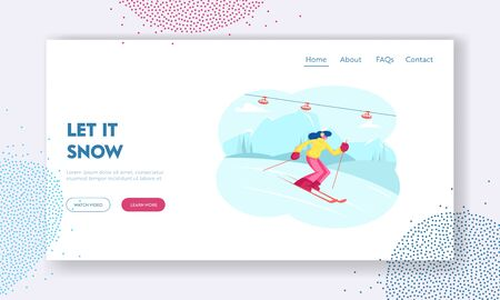 Winter Sports Activity and Spare Time Website Landing Page. Young Woman Skiing in Mountains Resort with Funicular