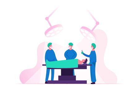 Cirujano que opera al paciente acostado en la cama en la sala de cirugía en el hospital o clínica. Ayuda del personal de enfermería