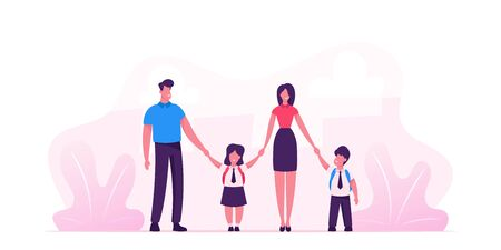 Mother and Father Leading their Children to School. Portrait of Modern Family Walking Together. Parents and Kids in Students Uniform Holding Hands. Back to School. Cartoon Flat Vector Illustration