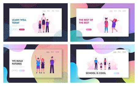 Education and Back to School Website Landing Page Set. Pupils and Young Female Teacher Character in Classroom Meeting New Year of Studying Together. Web Page Banner. Cartoon Flat Vector Illustration