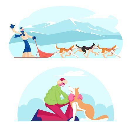 Winter Season Activities and Holidays Sport. Musher Riding Dog Sled Team Flying Gracefully Across Frozen Snowy Tundra Plain. Man Caress Pet at Winter Day Outdoors. Cartoon Flat Vector Illustration