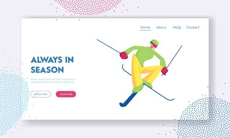 Extreme Freestyle Skiing Trick Website Landing Page. Young Sportsman Jumping on Skis. Male Character Outdoors Sport Activity, Games Competition Web Page Banner Cartoon Flat Vector Illustration