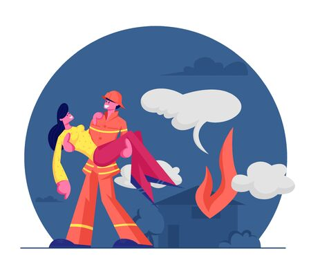 Fireman Saving Girl from Fire. Strong Firefighter in Protective Costume and Helmet Holding Woman on Hands Carry Out of Burning House. Dangerous Rescuer Profession. Cartoon Flat Vector Illustration