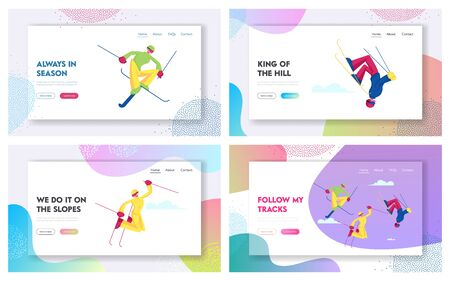 Aerialist Skiers Making Somersault and Extreme Freestyle Tricks over Springboard Website Landing Page Set. Winter Time Sports Competition and Games Web Page Banner. Cartoon Flat Vector Illustration