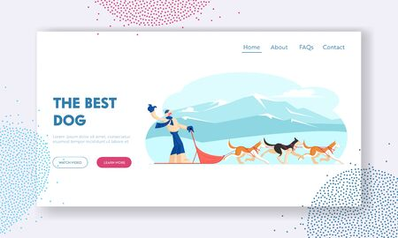 Winter Season Activities and Holidays Sport Website Landing Page. Musher Riding Dog Sled Team Frozen across Snowy Tundra Plain Winter Day Outdoors Fun Web Page Banner. Cartoon Flat Vector Illustration