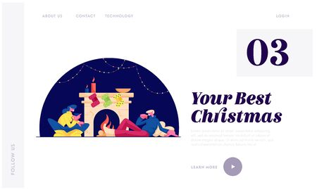 Christmas Holidays Spare Time at Home Website Landing Page. Happy Couple Man and Woman Sitting at Room with Burning Fireplace Drinking Tea, Xmas Night Cartoon Flat Vector Illustration Web Page Banner. Banque d'images - 131838872