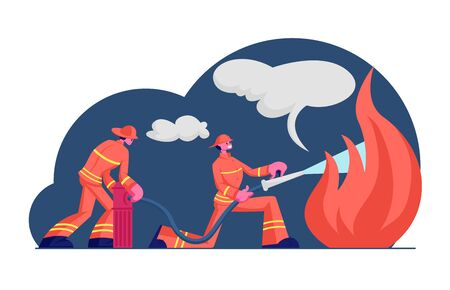 Couple of Firemen Fighting with Blaze at Burning House. Brave Male Characters Team in Firefighters Uniform and Hats Extinguish with Big Fire Spraying Water from Hose. Cartoon Flat Vector Illustration Stock Illustratie