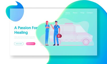 Ambulance Medical Staff and Car Service Website Landing Page. Emergency Paramedic Doctor Characters Stand at Automobile, Health Care Medics Occupation Web Page Banner. Cartoon Flat Vector Illustration