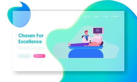 Gastroenterology Website Landing Page. Male Character Visiting Hospital for Internal Organs Tract System Ultrasound Examination and Xray Diagnosis Web Page Banner. Cartoon Flat Vector Illustration Banque d'images - 131838876