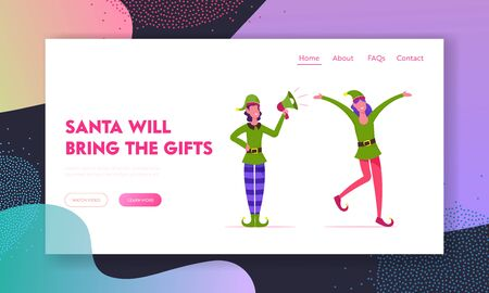 Christmas Holiday Celebration Website Landing Page. Couple of Young Faceless Girls Characters Wearing Elf Costumes and Hats Holding Megaphone, Promo Web Page Banner. Cartoon Flat Vector Illustration Banque d'images - 131838877