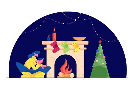 Happy Woman in Knitted Jumper Sitting with Cup of Tea at Fireplace with Hanging Socks for Gifts, Burning Logs and Candles in Decorated Room with Garland and Fir Tree Cartoon Flat Vector Illustration 向量圖像