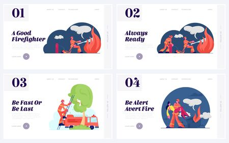 Fireman and Rescuer Job Website Landing Page Set. Firefighters Wearing Fire Fighter Suit for Safety in Danger Situations Save Life and Extinguish Flame Web Page Banner Cartoon Flat Vector Illustration