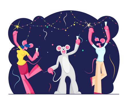 2020 New Year Party Celebration. Group of Cheerful People, Friends Company Wearing Mouse Costumes Dancing in Decorated Room with Champagne and Sparklers in Hands. Cartoon Flat Vector Illustration