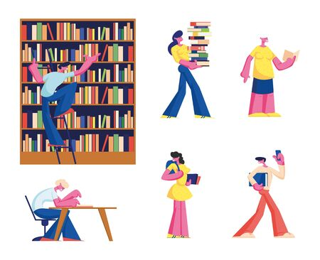 Set of Young and Senior People Reading in Library. Women and Men Searching Books. Students, Pensioners Spend Time in Athenaeum Room, Characters in Literature Storage. Cartoon Flat Vector Illustration