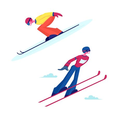 Male and Female Characters Ski Jumpers. Sportsman and Sportswoman Flying in Air during Extreme Jump at Games Championship or Training. Winter Sport Activity Cartoon Flat Vector Illustration Illustration