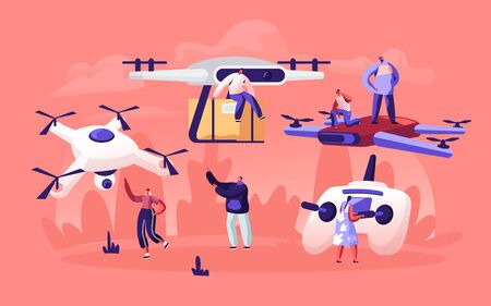 People Playing and Using Drones for Post Mail Delivery. Quadrocopter Remote Aerial Drone with Camera Taking Photography or Video Recording Game Futuristic Technologies Cartoon Flat Vector Illustration Banque d'images - 131838919
