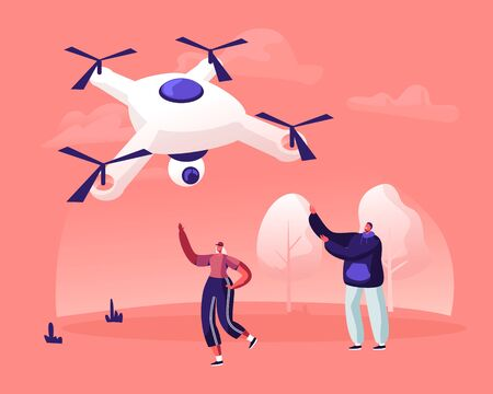 Happy Young Couple of Man and Woman Waving Hands to Flying in Sky Drone with Video Camera on Summer Rural Nature Landscape Background. People Looking on Quadcopter Cartoon Flat Vector Illustration