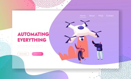 People Looking on Quadcopter Website Landing Page. Happy Man and Woman Waving Hands to Flying in Sky Drone on Summer Rural Nature Landscape Background Web Page Banner. Cartoon Flat Vector Illustration