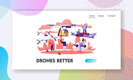 People Using Drones Website Landing Page.Quadcopter Remote Aerial Drone with Camera Taking Photography or Video Recording and Post Mail Delivery Web Page Banner. Cartoon Flat Vector Illustration