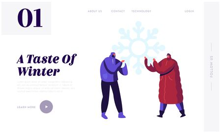 People Christmas Holidays Activity Website Landing Page. Happy Young Man and Woman in Warm Clothes Holding Huge Snowflake in Hands, Playing with Snow Web Page Banner. Cartoon Flat Vector Illustration Banque d'images - 131838960