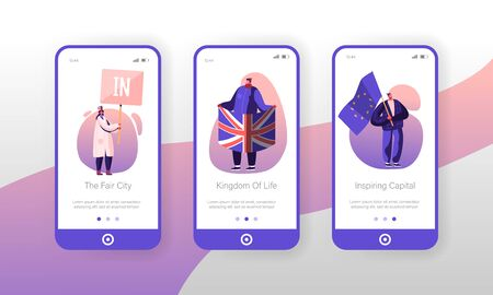 United Kingdom Politics Mobile App Page Onboard Screen Set People with Britain and European Union Flags Brexit Supporters Demonstration Concept for Website or Web Page Cartoon Flat Vector Illustration