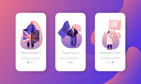 Brexit Supporters Mobile App Page Onboard Screen Set. People with European Union Flag and Banner with Word In. United Kingdom Politics Concept for Website or Web Page, Cartoon Flat Vector Illustration Illustration