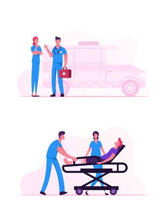 Ambulance Medical Staff Service Occupation. Medics Carrying Man Patient with Broken Leg to Hospital. Emergency Paramedic Doctors Characters Stand at Car. Health Care Cartoon Flat Vector Illustration Çizim