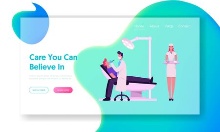 Dentist Check Up or Treatment Website Landing Page. Man Patient Lying in Medical Chair in Stomatologist Cabinet Doctor Treat Client Teeth with Nurse Web Page Banner. Cartoon Flat Vector Illustration 일러스트