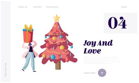 Festive Season Website Landing Page. Happy Woman Holding Huge Gift Box above Head Stand at Decorated Fir Tree Banque d'images - 131838981