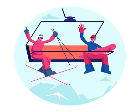 Happy Couple Rise to Ski Lift Elevator Waving Hands. Sportsmen Skier and Snowboarder Go Up Hill on Cable Rope Mountain Banque d'images - 131838985