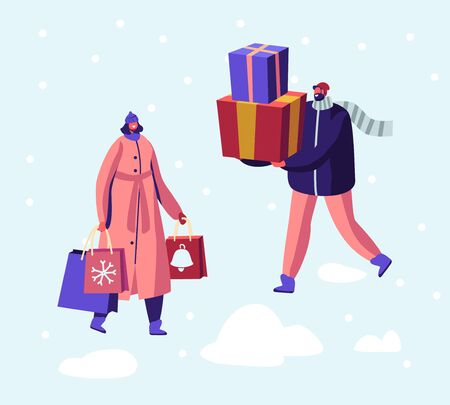 Christmas and New Year Sale and Shopping, Preparation for Winter Holidays. Happy Male and Female Character Illustration