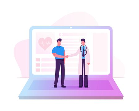 Distant Online Medicine Consultation, Smart Medical Technologies. Doctor Shaking Hands with Patient at Huge Laptop Screen. Remote Practitioner Health Care Consultation Cartoon Flat Vector Illustration Ilustrace