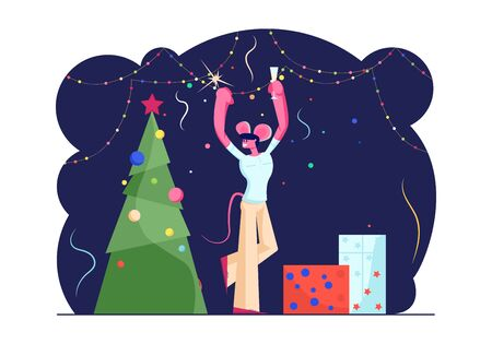 Happy Man in Funny Mouse Ears on Head Holding Sparkler and Champagne Glass Dancing near Decorated Christmas Tree with Gifts and Garlands. 2020 New Year Celebration Cartoon Flat Vector Illustration