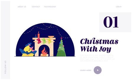 Christmas Night Website Landing Page. Happy Woman Sitting with Cup of Tea at Fireplace with Hanging Socks for Gifts, Burning Logs and Candles Tree Web Page Banner. Cartoon Flat Vector Illustration
