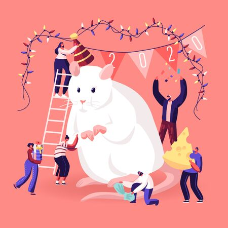 2020 New Year Celebration Concept. Tiny Male and Female Characters Standing on Ladder Decorating and Caring of Huge White Mouse Symbol of Traditional Chinese Calendar Cartoon Flat Vector Illustration
