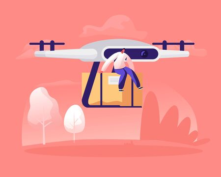 Tiny Male Character Sitting on Parcel Box Delivering with Drone by Air on Summer Landscape Nature Background. Futuristic Technologies in Post Mail and Shipping Service Cartoon Flat Vector Illustration