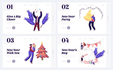 2020 Chinese Traditional Symbol of Calendar Website Landing Page Set. Happy People Meeting New Year of Mouse with Gifts