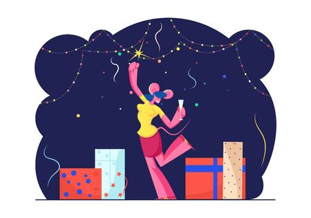 2020 New Year Party Celebration. Cheerful Woman Wearing Mouse Ears on Head Dancing in Decorated Room with Garlands and Gifts with Sparkler and Champagne Glass in Hands Cartoon Flat Vector Illustration