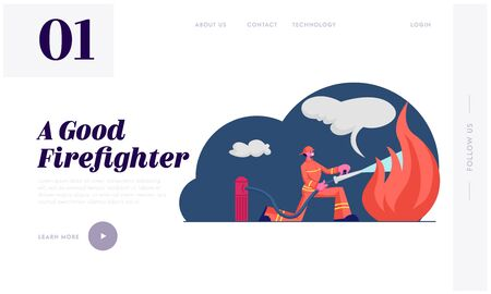 Firefighter Profession Website Landing Page. Fireman Training Using Water Hydrant and Extinguisher to Fight with Fire Flame in Emergency Situation Web Page Banner. Cartoon Flat Vector Illustration Çizim