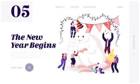 Website bestemmingspagina voor nieuwjaarsviering 2020. Kleine mannelijke en vrouwelijke personages die zorgen voor het enorme witte muissymbool