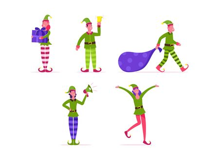 Set of Cute Playful Christmas Elves. Collection of Santa Claus Helpers in Green Costumes and Striped Stockings. Happy New Year and Merry Xmas Isolated Design Elements. Cartoon Flat Vector Illustration