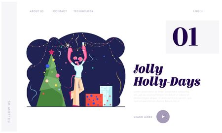 2020 New Year Website Landing Page. Happy Man in Funny Mouse Ears on Head Holding Sparkler and Champagne Glass Dancing near Decorated Christmas Tree Web Page Banner. Cartoon Flat Vector Illustration