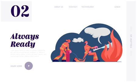 Firemen Fighting with Blaze Website Landing Page. Brave Firefighters Team in Uniform and Hats Extinguish with Big Fire Spraying Water from Hydrant Hose Web Page Banner Cartoon Flat Vector Illustration