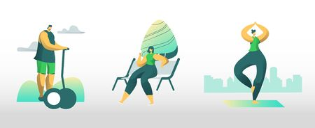 People City Dwellers Outdoors Activity. Male and Female Characters Spend Time in Public Park Driving Hoverboard, Eating Ice Cream, Doing Yoga or Fitness Exercises. Cartoon Flat Vector Illustration
