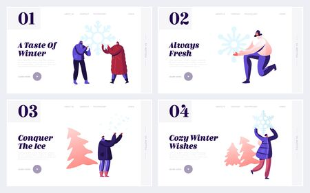 Wintertime Activities, Fun and Family Spare Time Website Landing Page Set. Happy People Enjoying Winter Season Outdoors Games and Playing with Snow Web Page Banner. Cartoon Flat Vector Illustration