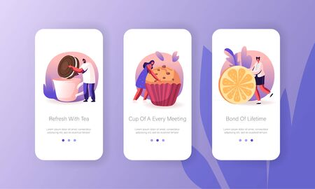 Tea Party or Holiday Celebration Mobile App Page Onboard Screen Set. People Drinking Hot Beverage with Lemon, Bakery and Sweet Food Concept for Website or Web Page, Cartoon Flat Vector Illustration