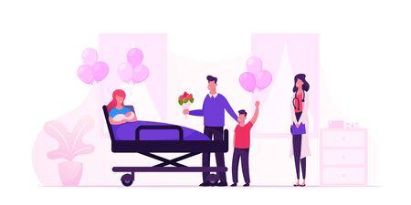 Familia feliz con bebé recién nacido en la cámara del hospital de maternidad. Sala de la clínica de partos con la madre en la cama y personal médico. Ilustración de Vector plano de dibujos animados de padre de madre de niño recién nacido